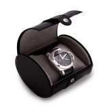 Black Leather Single Watch Travel Case with Snap Closure MPN: GM13302