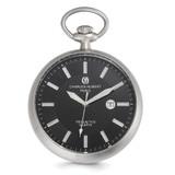 Charles Hubert Open Face Tritium Quartz Pocket Watch Stainless Steel MPN: XWA5558