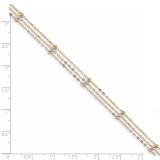 3-Strand Diamond -cut Beaded Anklet 14k Tri-Color Gold ANK290-10