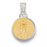 Diamond -cut Screw Top 1/10AE Bezel with coin 14k white Gold MPN: BA44/10AEC