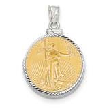 Diamond -cut Screw Top 1/4AE Bezel with coin 14k white Gold MPN: BA44/4AEC