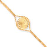 7.25 Inch 1/10oz Mounted American Eagle Plain Bezel Rope Bracelet 14k Gold MPN: BA62/10AEC UPC: 883957043814