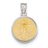 Diamond -cut Prong 1/10AE Bezel with coin 14k white Gold MPN: BA67W/10AEC