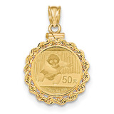 Hand Made Rope Polished Screw Top 1/10P Bezel with coin 14k Gold MPN: BA70/10PC