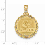 Hand Made Rope Polished Screw Top 1/4P Bezel with coin 14k Gold BA70/4PC