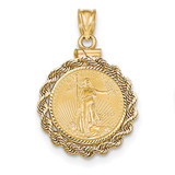 Hand Made Rope Diamond -cut Screw Top 1/10AE Bezel with coin 14k Gold MPN: BA70D/10AEC