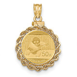 Hand Made Rope Diamond -cut Screw Top 1/10P Bezel with coin 14k Gold MPN: BA70D/10PC
