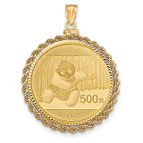 Hand Made Rope Diamond -cut Screw Top 1P Bezel with coin 14k Gold MPN: BA70D/1PC