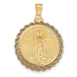 Hand Made Rope Diamond -cut Screw Top 1/2AE Bezel with coin 14k Gold MPN: BA70D/2AEC