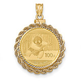 Hand Made Rope Diamond -cut Screw Top 1/4P Bezel with coin 14k Gold MPN: BA70D/4PC