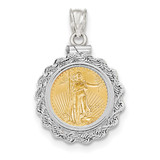 Hand Made Rope Polished Screw Top 1/10AE Bezel with coin 14k white Gold MPN: BA70W/10AEC