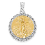 Hand Made Rope Polished Screw Top 1/2AE Bezel with coin 14k white Gold MPN: BA70W/2AEC