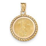 Casted Rope Polished Prong 1/10AE Bezel with coin 14k Gold MPN: BA71Y/10AEC