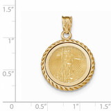 Casted Rope Polished Prong 1/10AE Bezel with coin 14k Gold BA71Y/10AEC