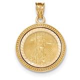 Beaded Diamond -cut Prong 1/10AE Bezel with coin 14k Gold MPN: BA73YD/10AEC