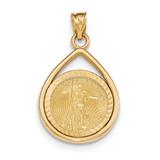 Tear Drop Diamond -cut Prong 1/10AE Bezel with coin 14k Gold MPN: BA74YD/10AEC