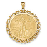 Fancy Polished Prong 1AE Bezel with coin 14k Gold MPN: BA76Y/1AEC
