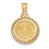Casted Rope Polished Screw Top 1/10AE Bezel with coin 14k Gold MPN: BA79Y/10AEC