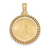 Casted Rope Polished Screw Top 1/4AE Bezel with coin 14k Gold MPN: BA79Y/4AEC