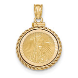 Casted Rope Diamond -cut Screw Top 1/10AE Bezel with coin 14k Gold MPN: BA79YD/10AEC