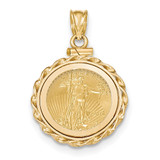 Twisted Wire Polished Screw Top 1/10AE Bezel with coin 14k Gold MPN: BA80Y/10AEC