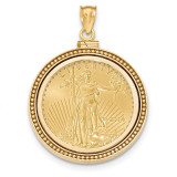 Beaded Polished Screw Top 1/2AE Bezel with coin 14k Gold MPN: BA81Y/2AEC