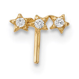 CZ 3-Star Nose Stud 14k Gold MPN: BD114
