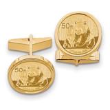 1/10oz Mounted Panda Coin Polished Plain Bezel Cuff Links 14k Gold MPN: CL19C UPC: 883957048031