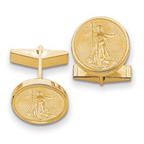 1/10oz Mounted American Eagle Polished Plain Bezel Cuff Links 14k Gold MPN: CL24C UPC: 883957048086