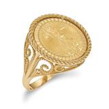 1/10AE Diamond -cut Coin Ring with coin 14k Gold MPN: CR11D/10AEC