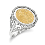 1/10AE Polished Coin Ring with coin 14k white Gold MPN: CR11W/10AEC