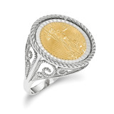 1/10AE Diamond -cut Coin Ring with coin 14k white Gold MPN: CR11WD/10AEC
