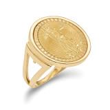 1/10AE Diamond -cut Coin Ring with coin 14k Gold MPN: CR13D/10AEC
