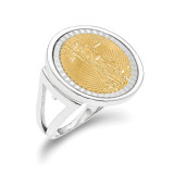 1/10AE Diamond -cut Coin Ring with coin 14k white Gold MPN: CR13WD/10AEC
