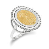 1/10AE Diamond -cut Coin Ring with coin 14k white Gold MPN: CR14WD/10AEC