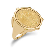 1/10AE Diamond -cut Coin Ring with coin 14k Gold MPN: CR2D/10AEC