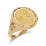1/10AE Diamond -cut Coin Ring with coin 14k Gold MPN: CR9D/10AEC