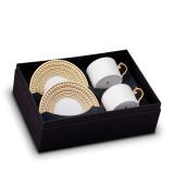 L'Objet Perlee Tea Cup Saucer (Box Of 2) - Gold MPN: PR253