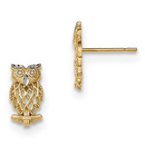 Polished Cut-out Owl Post Earrings 14k Gold & Rhodium MPN: H1135 UPC: 886774761527