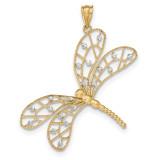 Polished Diamond -cut Filigree Dragonfly Pendant 14k Two-Tone Gold MPN: K5335 UPC: 191101458323