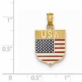 USA Flag Enameled Pendant 14k Gold K5402