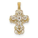 2 Level Filigree Cross Pendant 14k Two-tone Gold Polished MPN: K5454 UPC: 191101459214