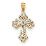 Filigree 2 Level Heart Cross Pendant 14k Two-tone Gold Polished MPN: K5503 UPC: 191101454448