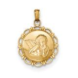 Angel/Cherub on Round Scallop Frame Pendant 14k Gold Polished MPN: K5691 UPC: 637218164479