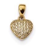 Pave CZ Heart Pendant 14k Gold Polished MPN: K5830