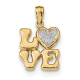 Polished Love with Filigree Heart Pendant 14k Gold & Rhodium MPN: K5875