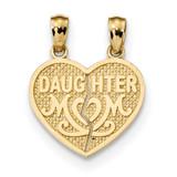 Daughter Mom Break Apart Heart Pendant 14k Satin & Polished MPN: K5906