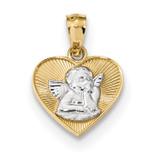 Polished Guardian Angel in Heart Pendant 14k Gold & Rhodium MPN: K5911