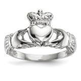 Polished Claddagh Ring 14k white Gold MPN: K5934