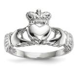Polished Claddagh Ring 14k white Gold MPN: K5934